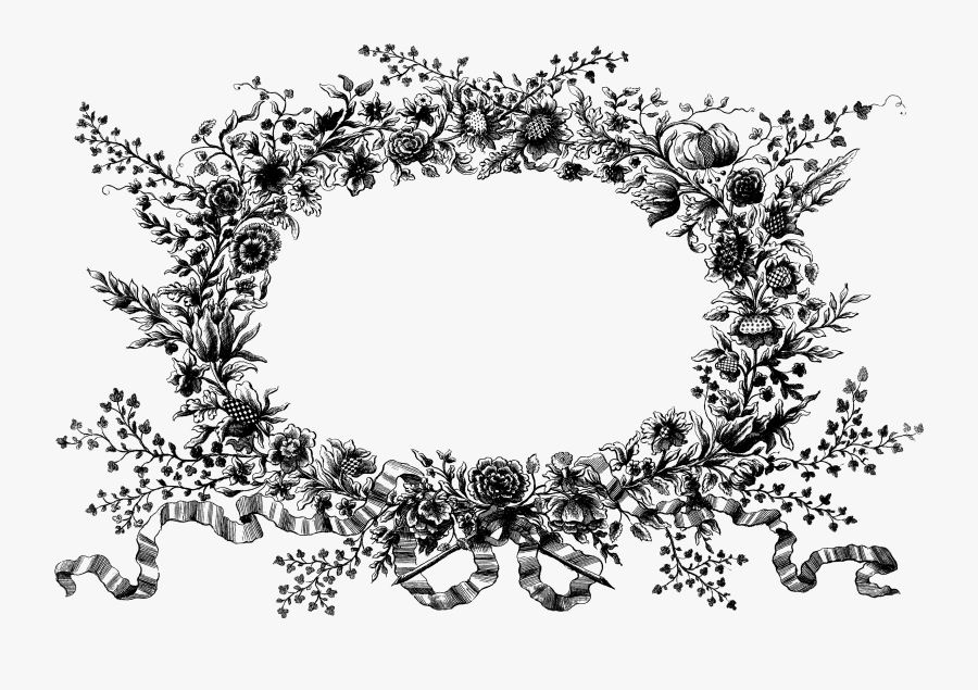 Folk Clipart Vintage Floral Wreath - Black And White Floral Wreath Png, Transparent Clipart
