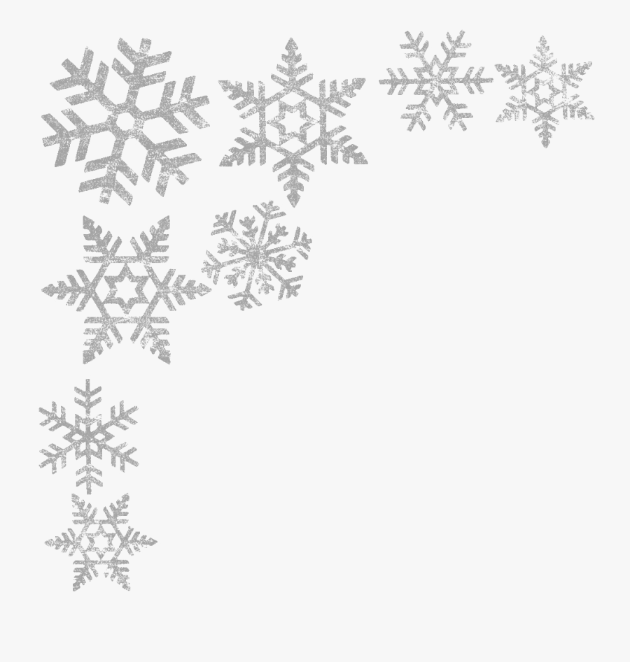 Snowflake Clipart Winter Frame - Snowflake Black And White Border, Transparent Clipart