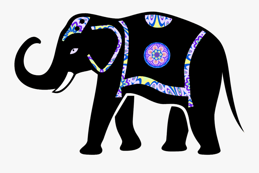 Ornamented Elephant Silhouette Icons Png - Indian Elephant Elephant Silhouette, Transparent Clipart