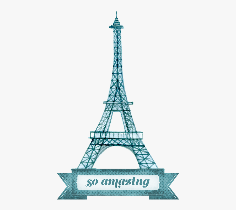 Eiffel Tower, Eiffel, Tower, Paris, France, Europe - Eiffel Tower Drawing With Blue Background, Transparent Clipart