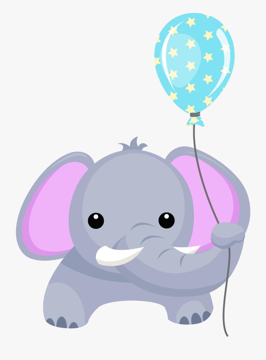 Elephant Clipart Balloon - Baby Elephant Birthday Png, Transparent Clipart