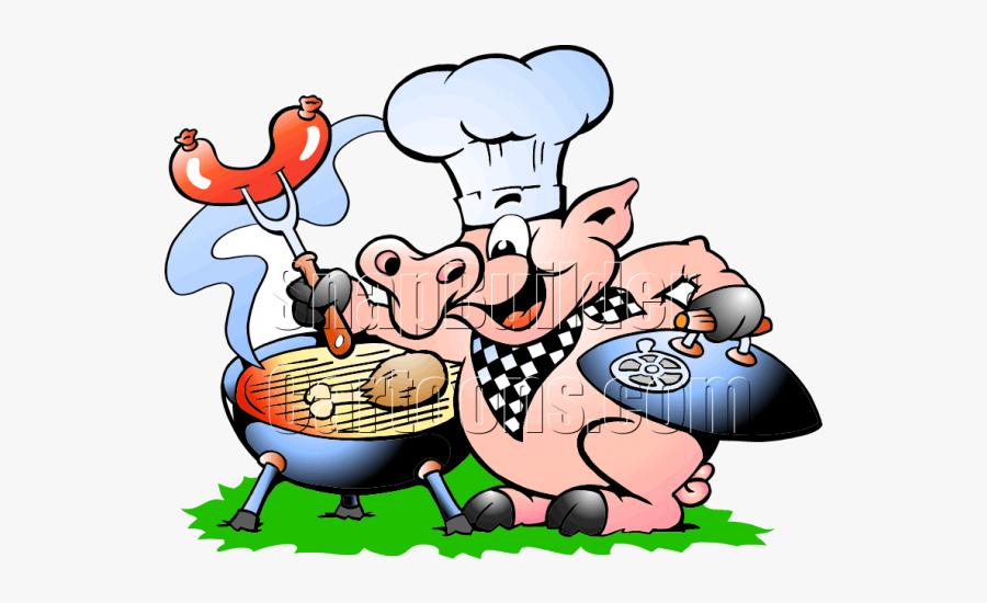Chef Pig Bbq Grill Cooking Hotdogs - Bbq Cartoon Pig, Transparent Clipart