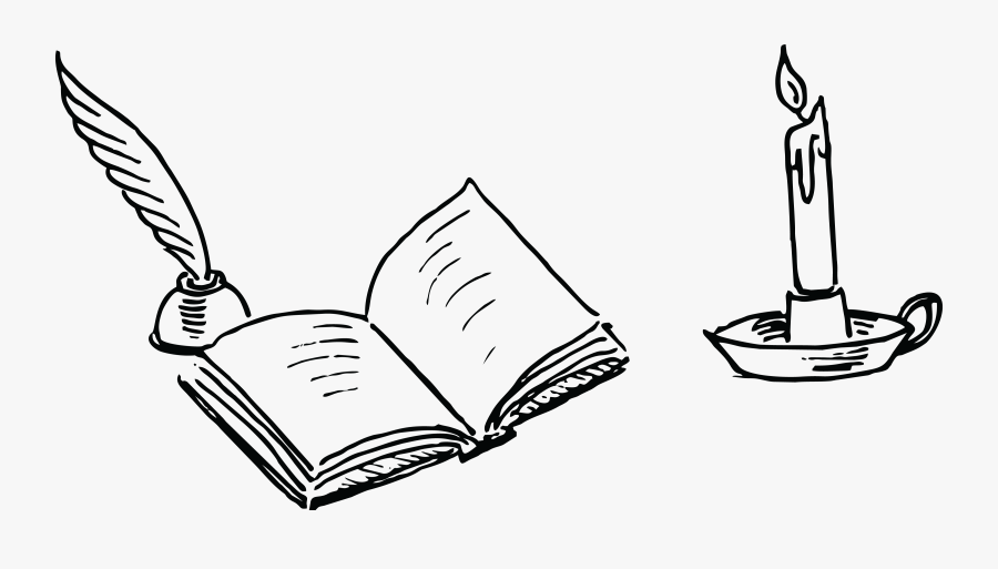Open Book Clip Art Sketch - Book And Pen Drawing, Transparent Clipart