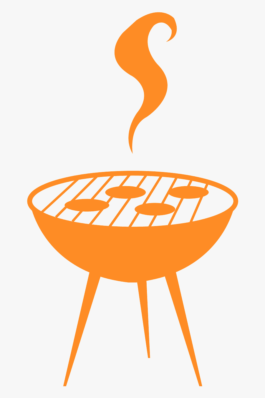 Bbq Clipart Silhouette - Bbq Vector Graphic Orange, Transparent Clipart