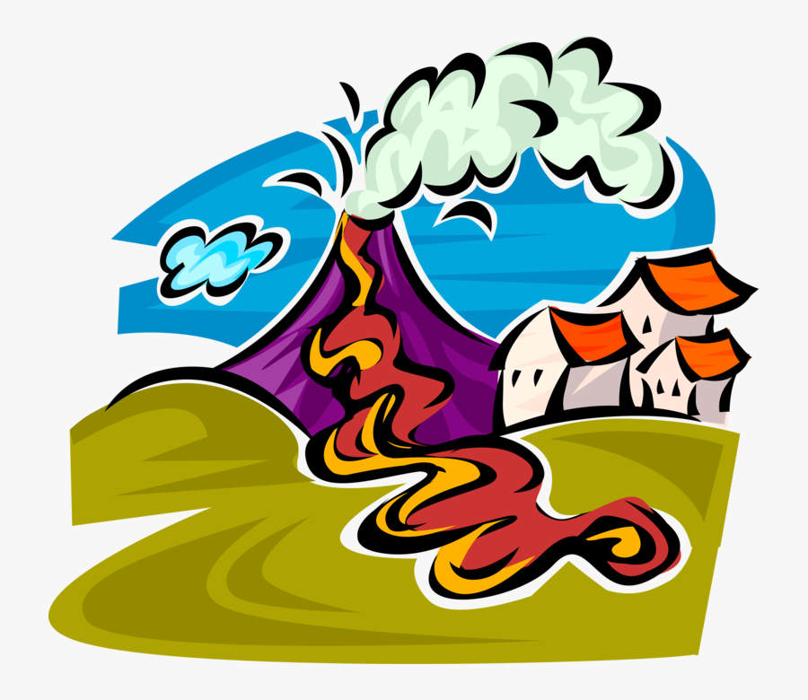 Vector Illustration Of Active Volcano Eruption Produces - Safety Measures During Volcanic Eruption, Transparent Clipart