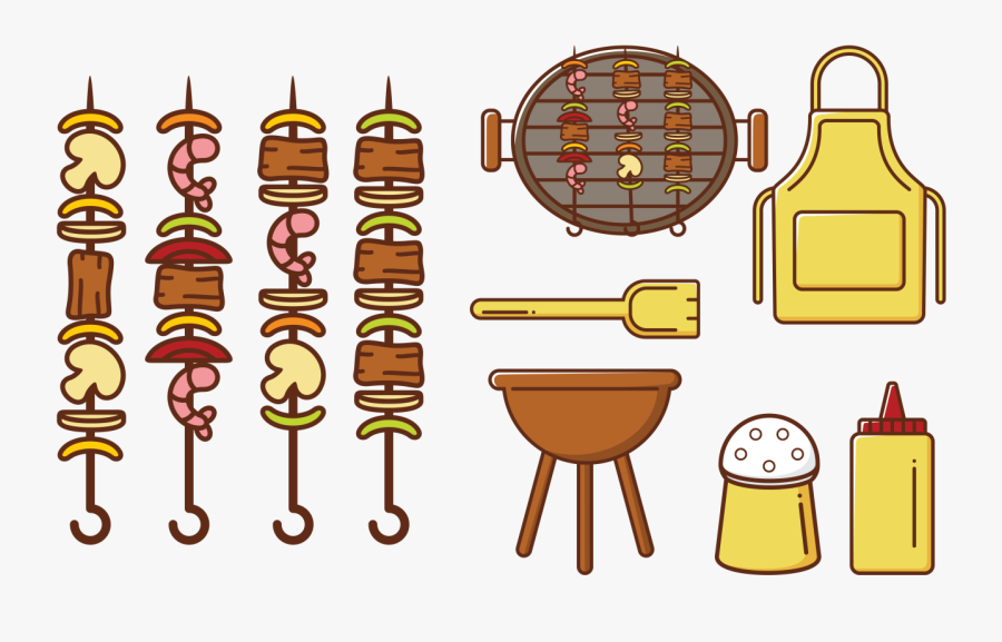 Brochette Kebab Skewers Icons Vector - Bbq And Cocktail Graphic Free To Use, Transparent Clipart