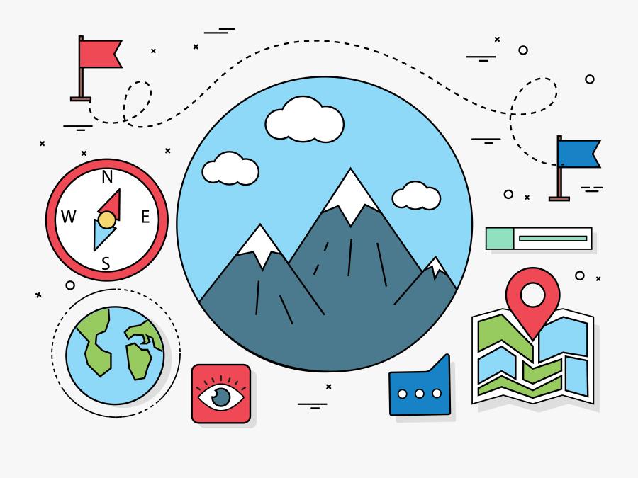Cartoon Clip Art Mountain - Travel Flat Design, Transparent Clipart
