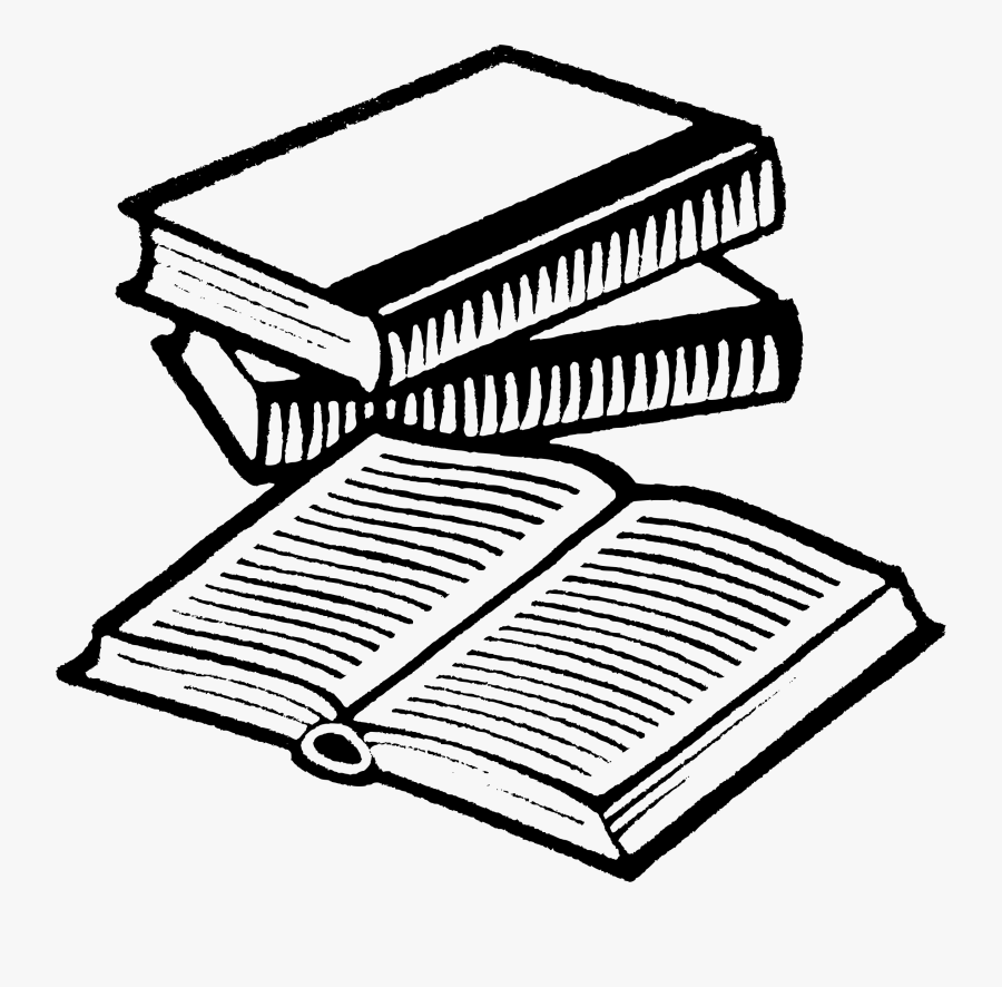 Open Book Clip Art Drawing - Line Drawing Of Books, Transparent Clipart
