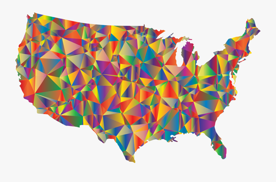 Low Poly United States Map Clip Art Library Library - Multistate Nation On Map, Transparent Clipart