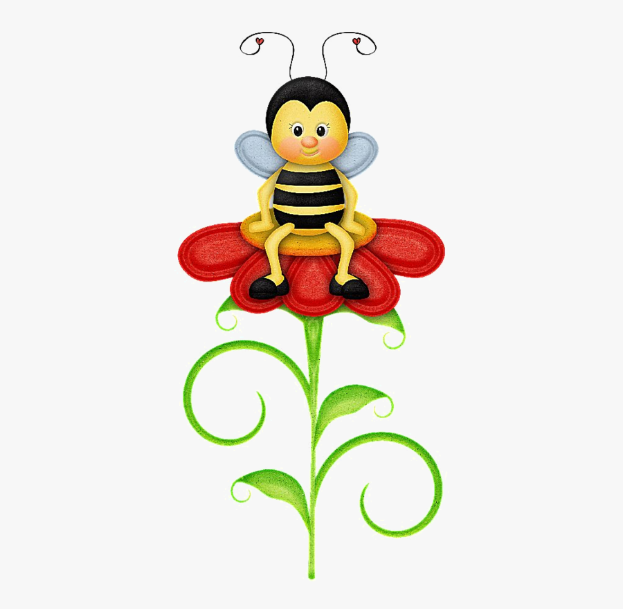 Bee Clipart, Bee Images, Cute Bee, Image Digital, Tole - Honey Bee Sitting In Flower Drawing, Transparent Clipart