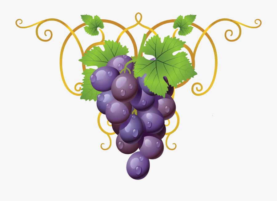 Grapevine Clipart Decoration - Wine Glass Grapes Icon, Transparent Clipart