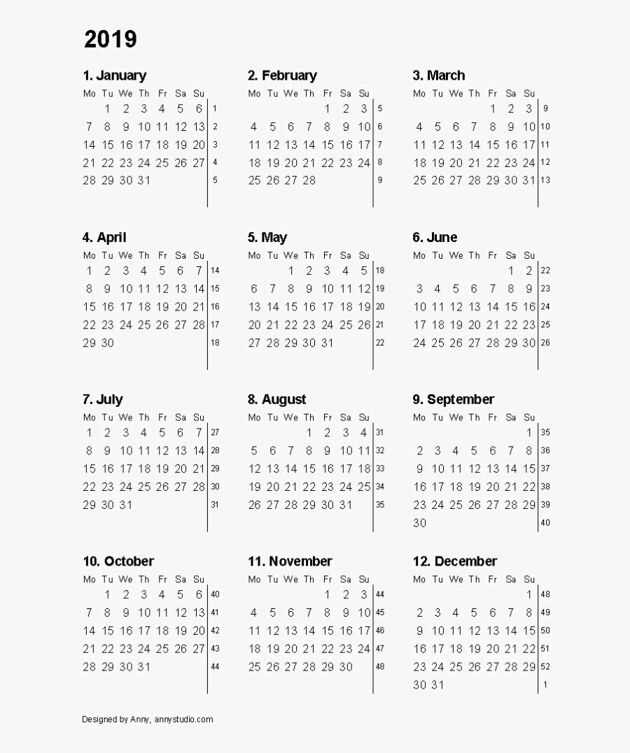 2019 Calendar High Quality Png - Free Printable 12 Month Calendar 2018, Transparent Clipart