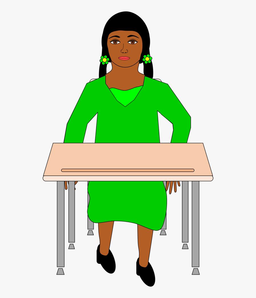 Clipart Student Desk - Student Sitting At Desk Png, Transparent Clipart