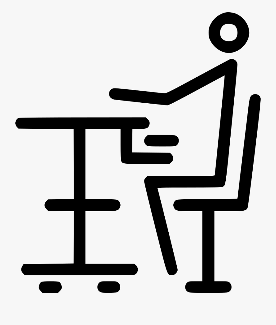 Transparent Good Student Sitting At Desk Clipart - Icon Table Study, Transparent Clipart