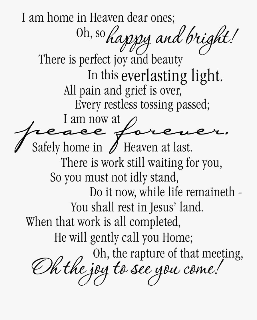 Transparent In Loving Memory Clipart Free - Funeral Poems Transparent, Transparent Clipart
