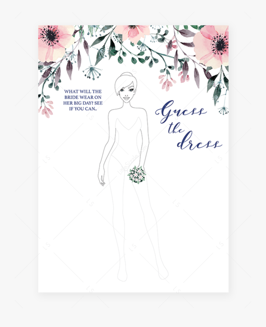 Floral Guess The Dress Bridal Shower Games Cards By ...