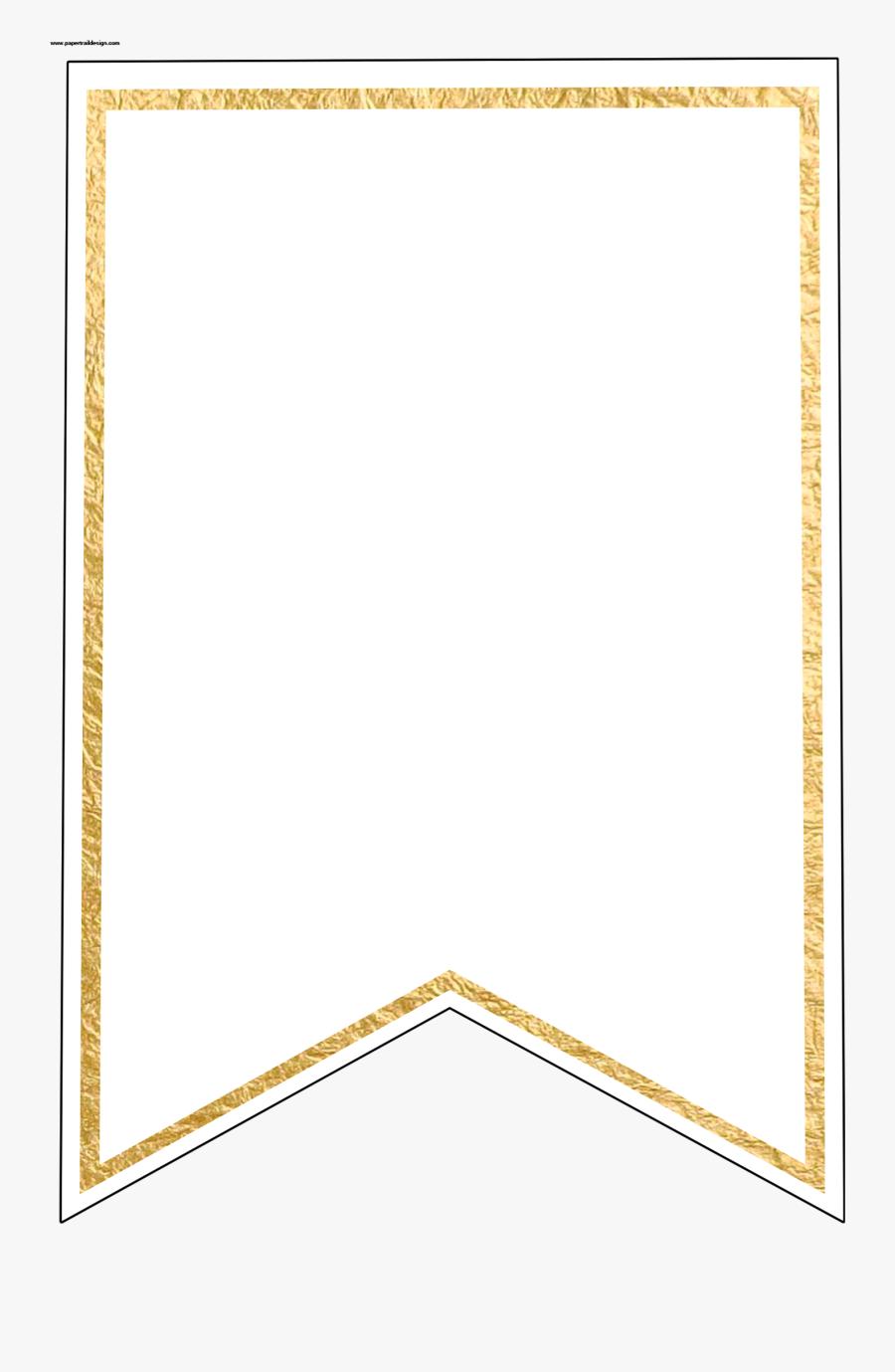 Gold Pennant Banner Blank Template Flag Banner Template - Transparent Background Banner Blank Template, Transparent Clipart