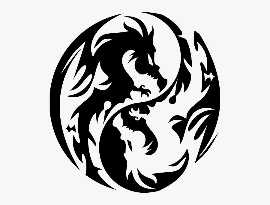 Transparent Cute Dragon Clipart Black And White - Yin Yang Symbol Dragon, Transparent Clipart
