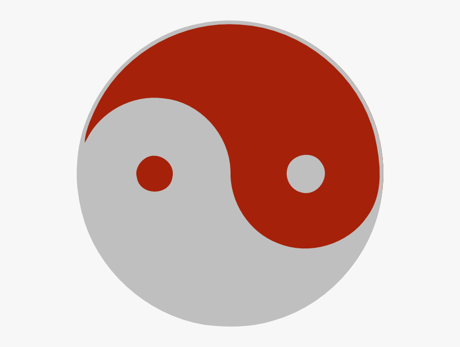 Red And Grey Yin Yang, Transparent Clipart