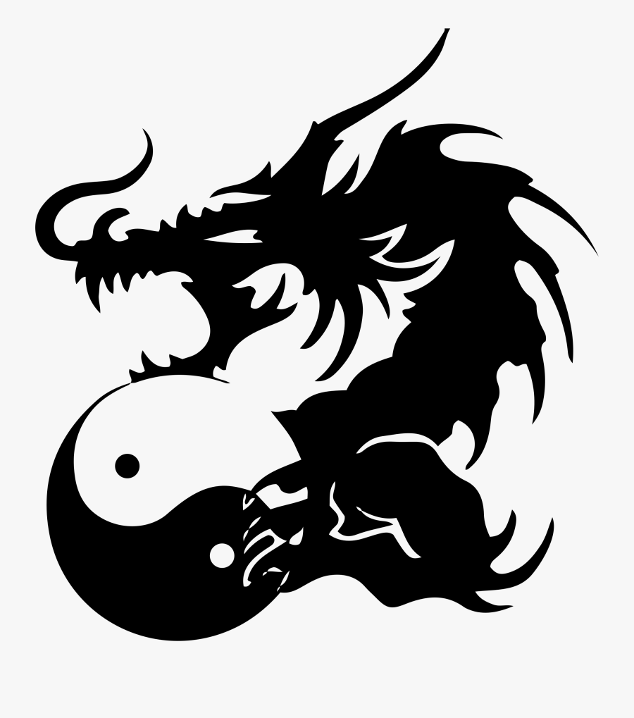 Transparent Chinese Dragons Clipart - Dragons Yin Yang Tattoos, Transparent Clipart