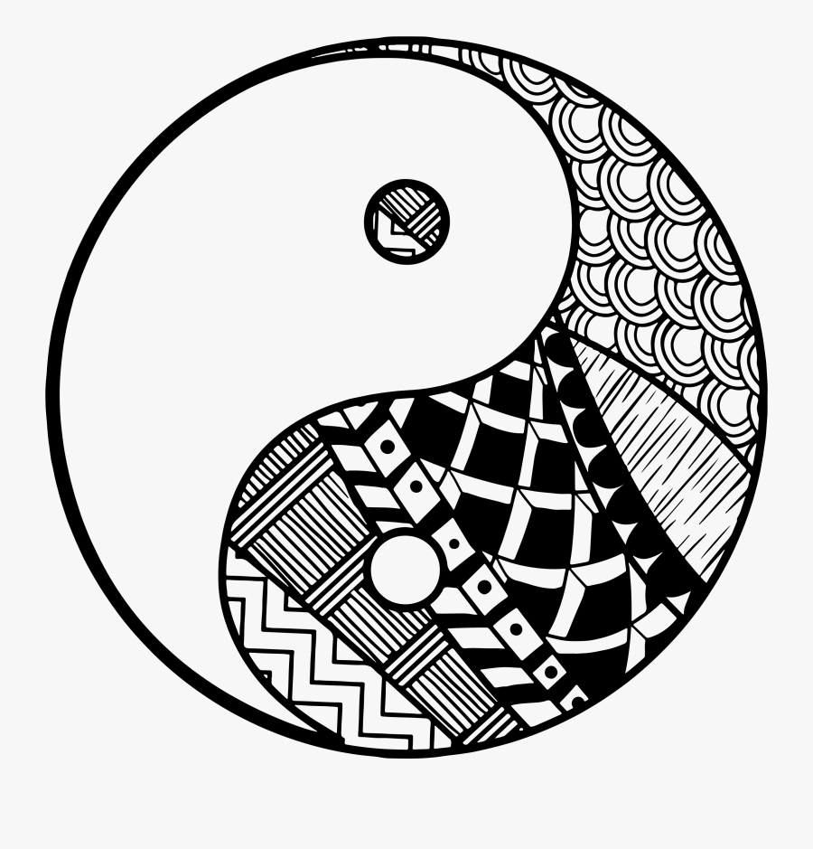 Easy Zentangle Yin Yang, Transparent Clipart
