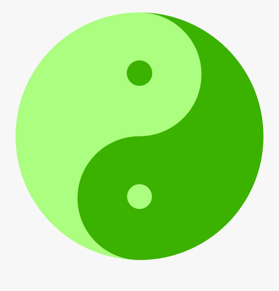 Green Yin Yang Symbol, Transparent Clipart