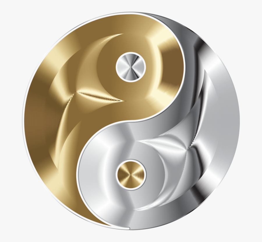 Copper And Chrome Yin Yang - Yin Yang Gold And Sliver, Transparent Clipart