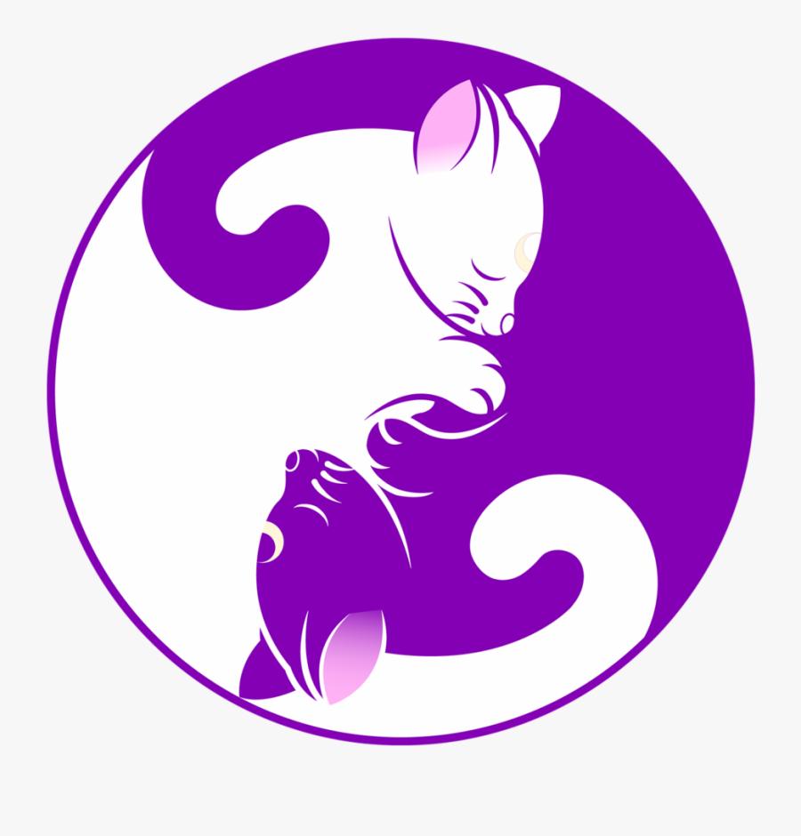 Drawn Kittens Yin Yang - Black Cat And White Cat Yin Yang, Transparent Clipart