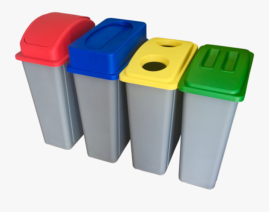 Recycling Station Bins With Coloured Lids - Recycling Station Bins Office, Transparent Clipart