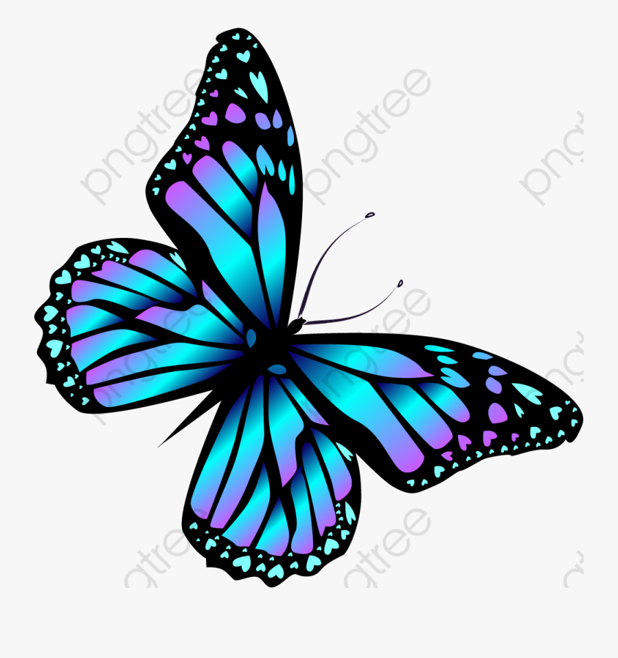 Cartoon Blue Butterfly, Transparent Clipart