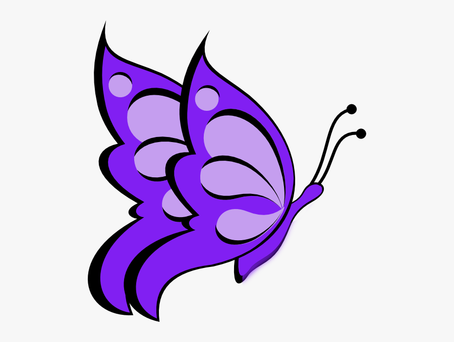Transparent Purple Butterflies Clipart - Butterfly Drawing With Colour, Transparent Clipart