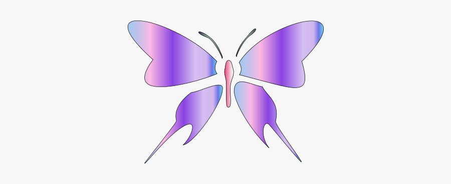 Butterfly - Purple Butterfly Outline, Transparent Clipart