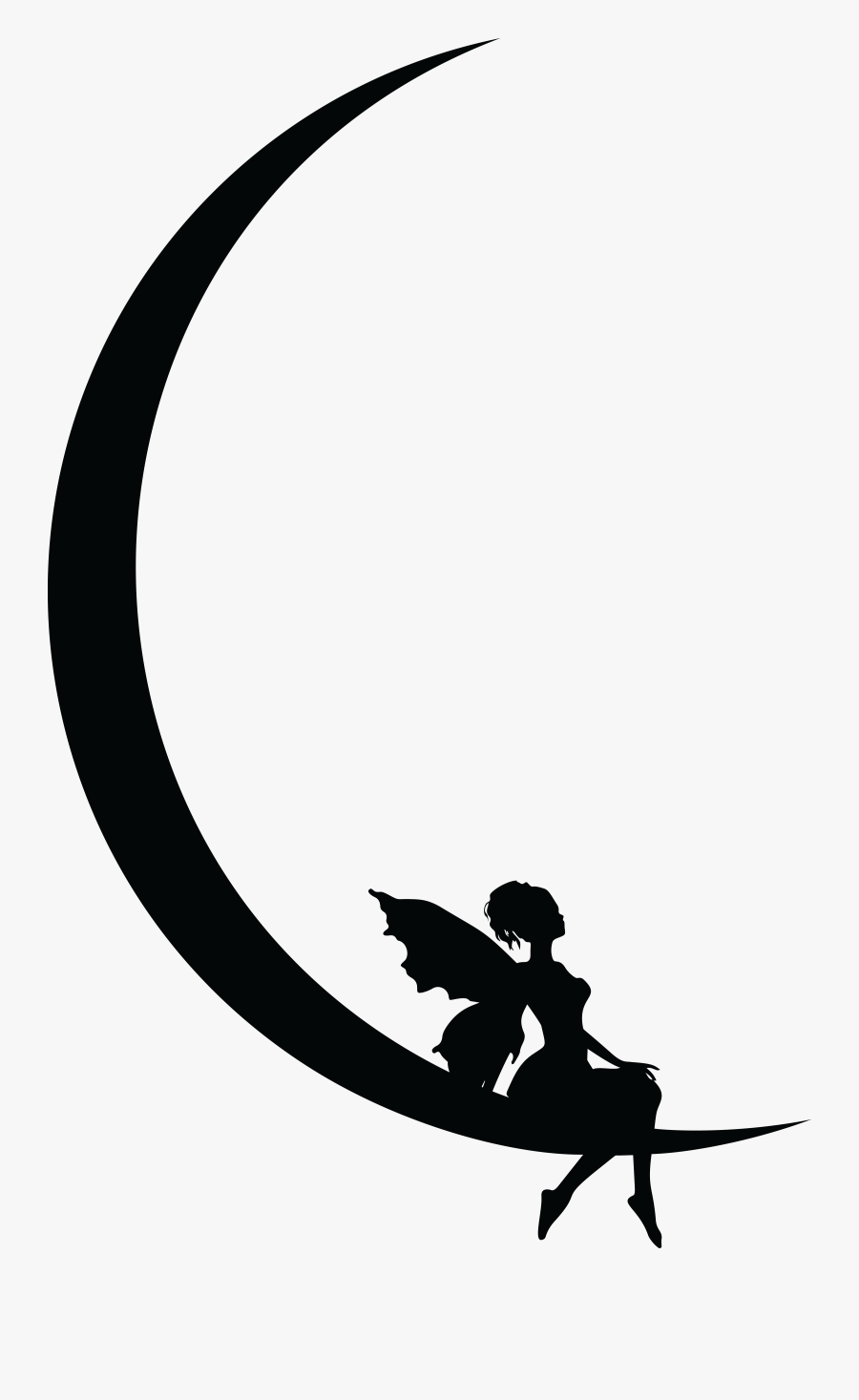 Silhouette,fictional Character,monochrome Photography - Crescent Moon And Fairy, Transparent Clipart