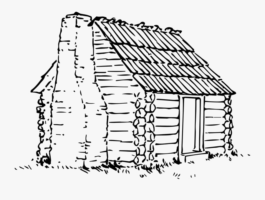 Wood Cabin Line Drawing, Transparent Clipart