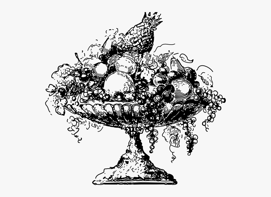 Fruit Platter Black And White, Transparent Clipart