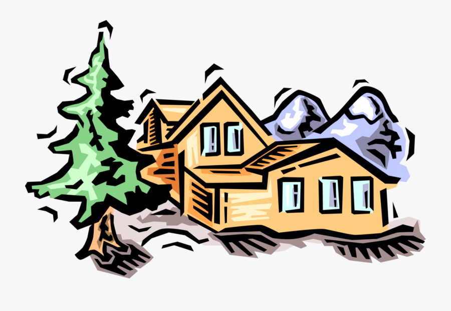 Vector Illustration Of Residence House Dwelling Cabin, Transparent Clipart