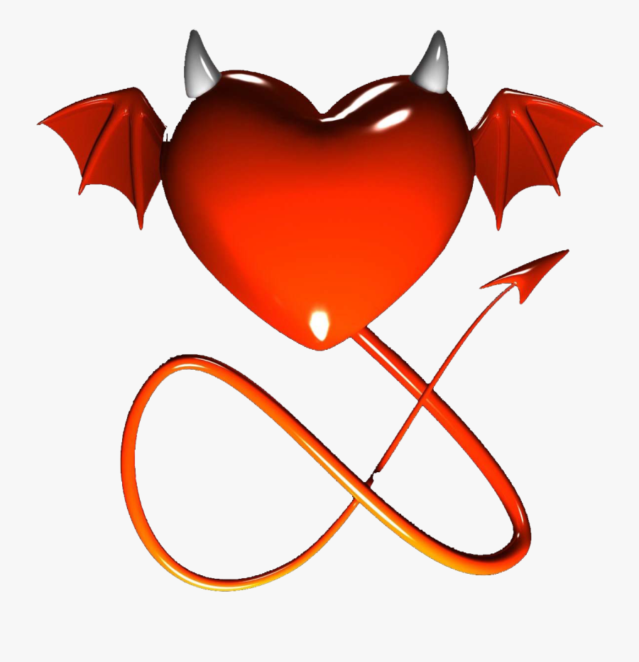 Heart With Devil Horns Tattoo Clipart , Png Download - Heart With Devil Tail, Transparent Clipart