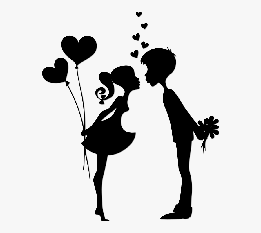 Silhouette Of Two People With Red Hearts Tattoo, Silhouettes - Young Love On Valentines Day, Transparent Clipart
