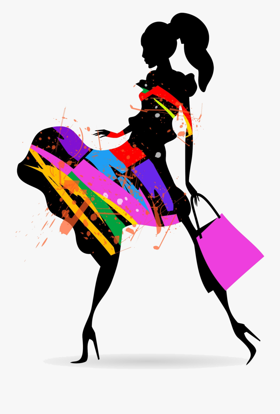 Fashion Silhouette Color No Background - Fashion Girl Silhouette Png, Transparent Clipart