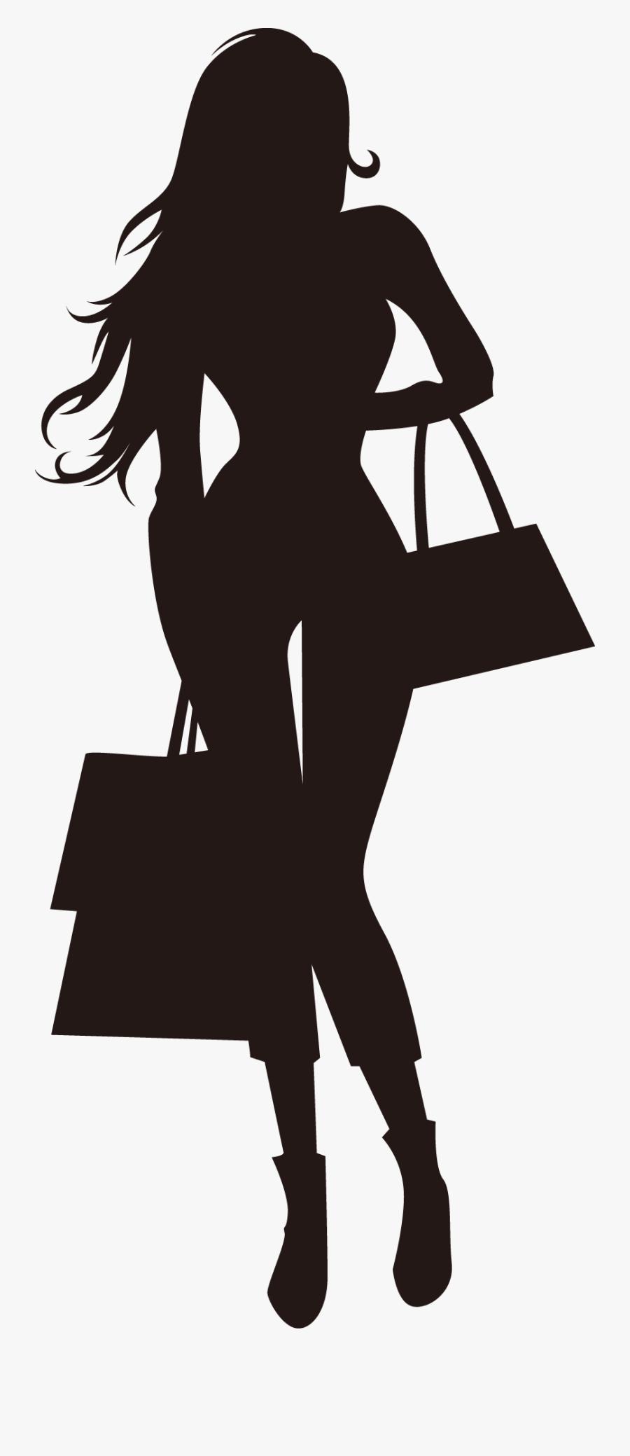 Transparent Ladies Fashion Clipart - Fashion Shopping Girl Silhouette, Transparent Clipart