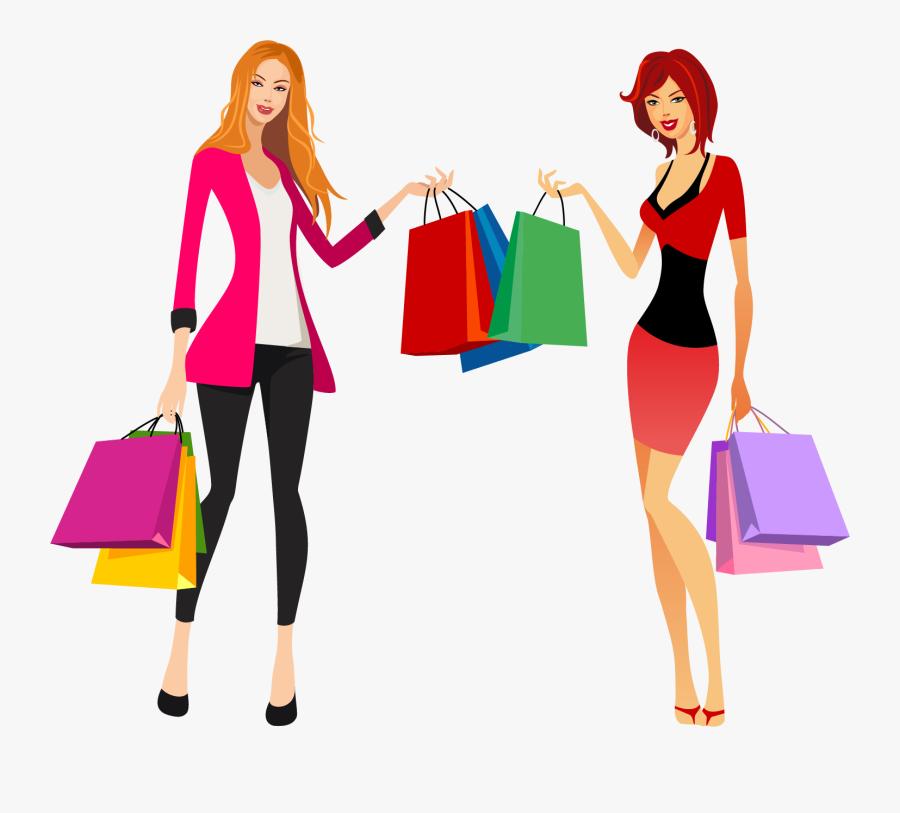 Shopping Fashion Clip Art - Fashion Shopping Girl Vector, Transparent Clipart