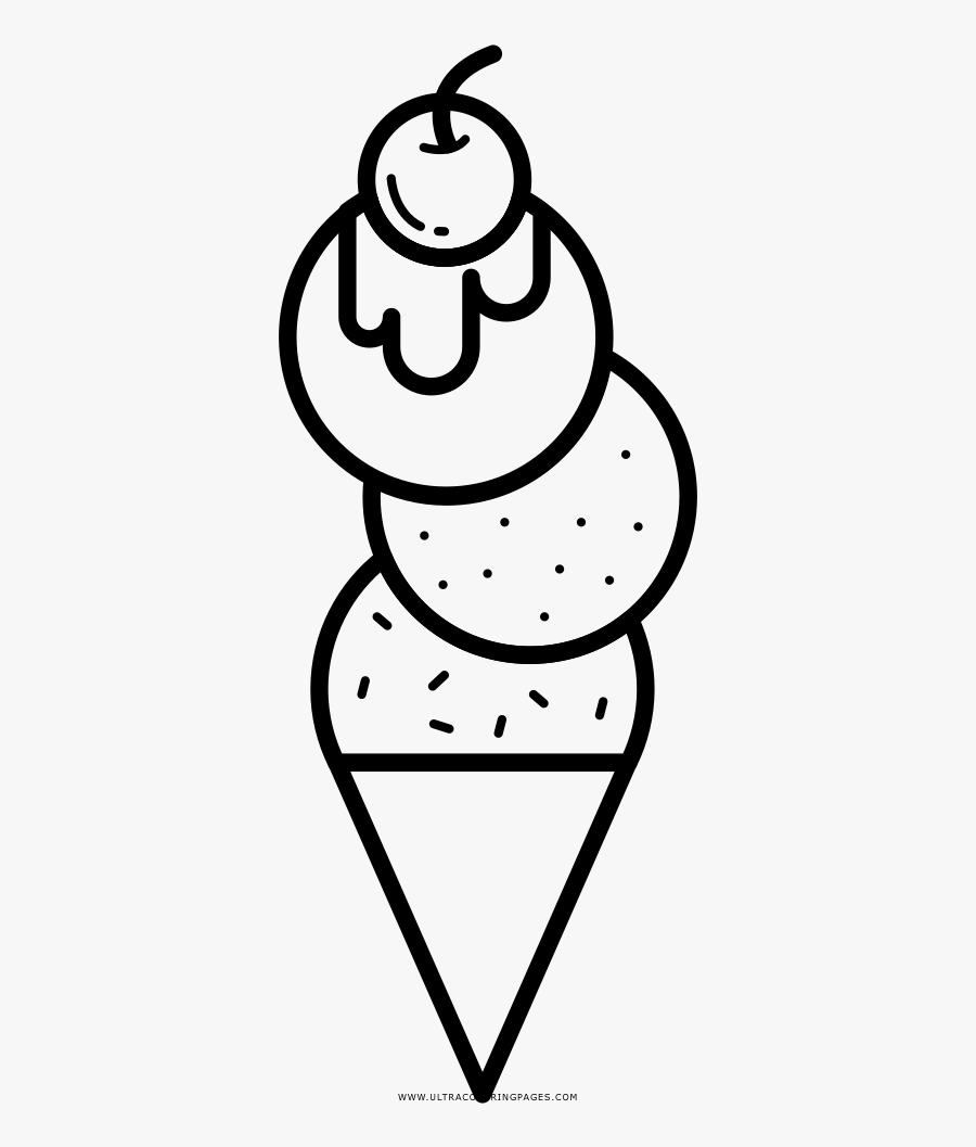 Coloring Pages Ice Cream Cone Template Freee With Scoops - ภาพ ระบายสี ไอ ศ ครีม, Transparent Clipart