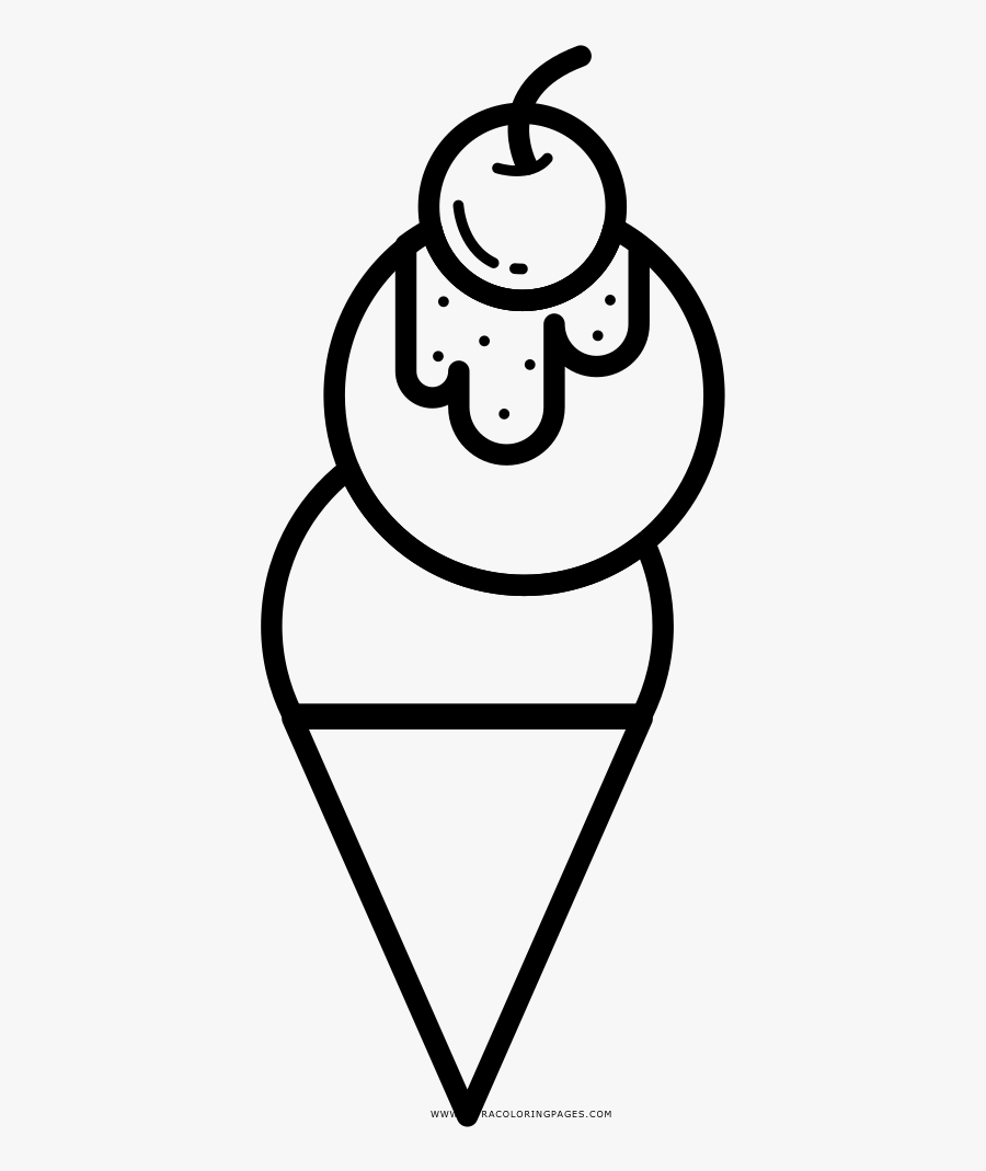 Ice Cream Cone Coloring Page - ภาพ ระบายสี ไอ ศ ครีม, Transparent Clipart