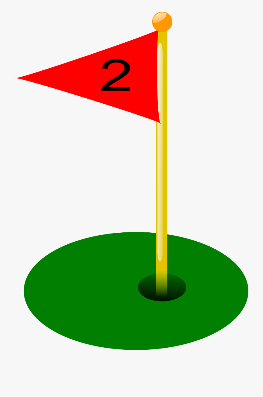 Golf, Hole, Flag, Two, Sport, Game - Draw A Golf Hole, Transparent Clipart