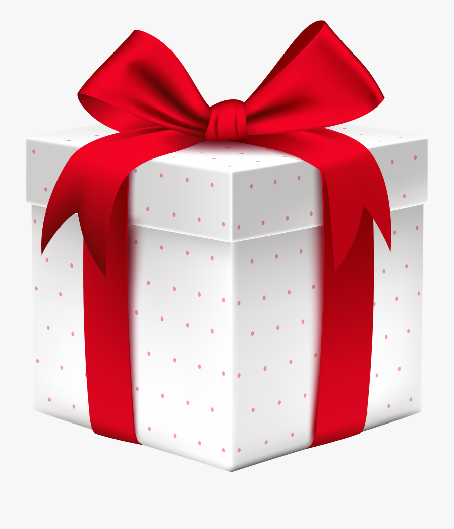White Gift Box With Red Bow Png Image Png Images - Gift Box Transparent Png, Transparent Clipart