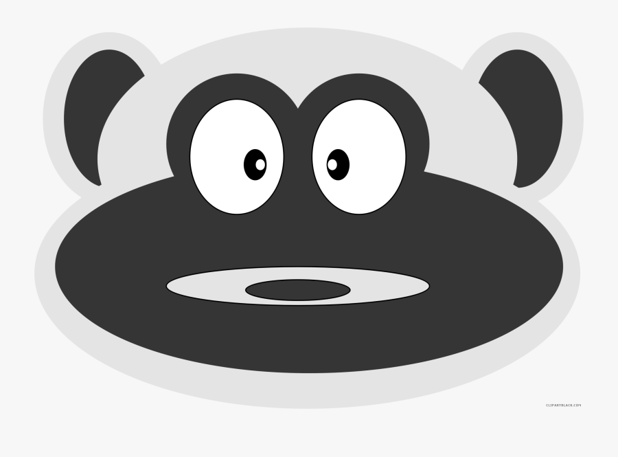 Monkey Face Animal Free Black White Clipart Images - Cartoon, Transparent Clipart