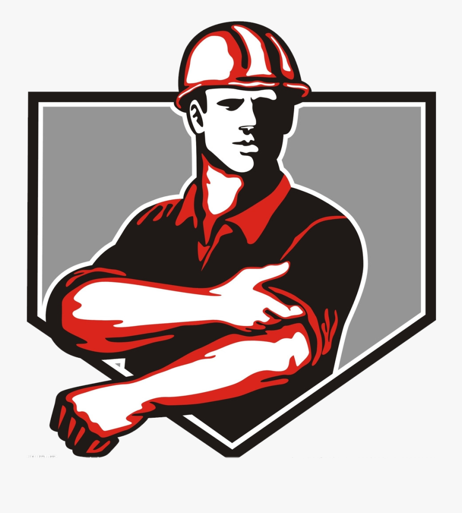 Construction Worker Architectural Engineering Clip - Hard Hat Man Graphic, Transparent Clipart