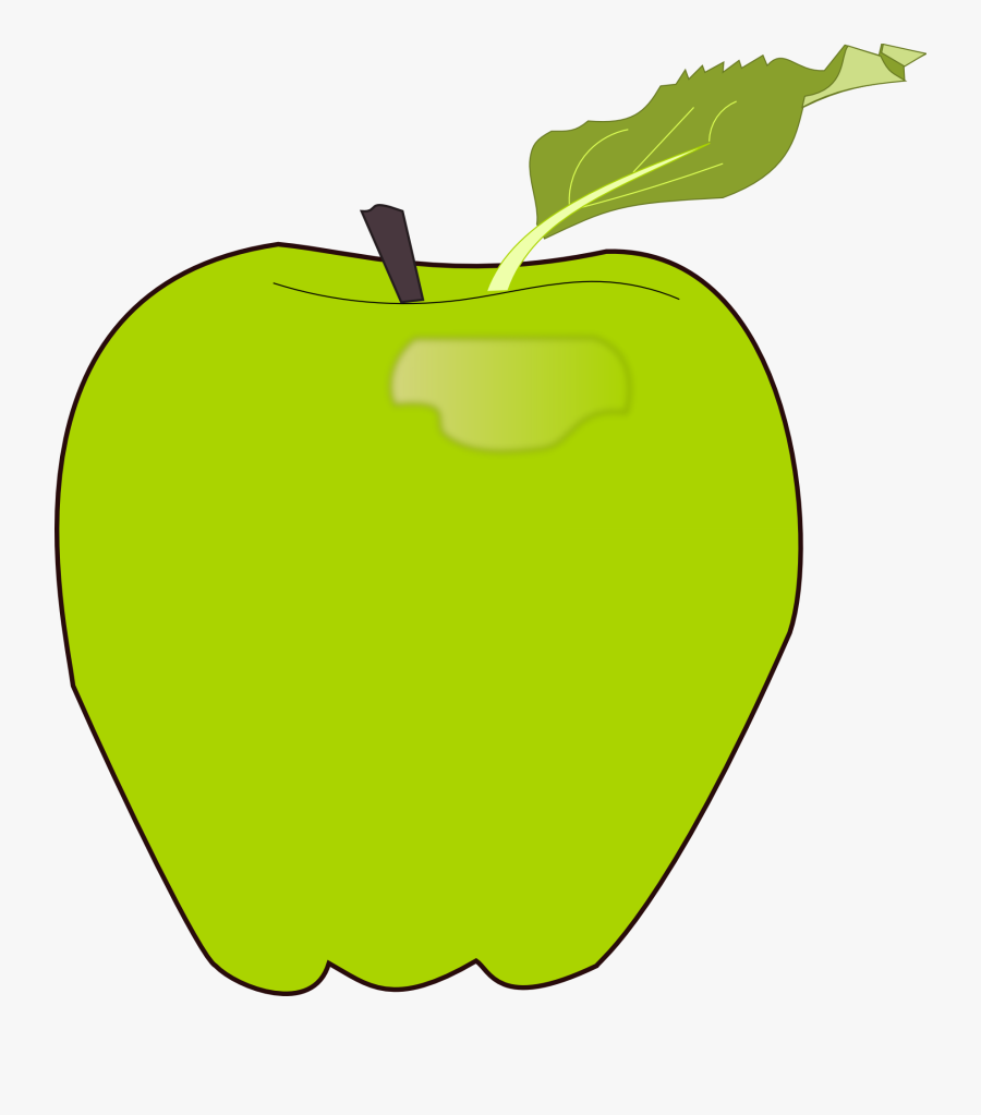 Green, Apple, Fruit, Food, Edible, Green Leaf, Healthy - ผล ไม้ แอ ป เปิ้ ล เขียว, Transparent Clipart