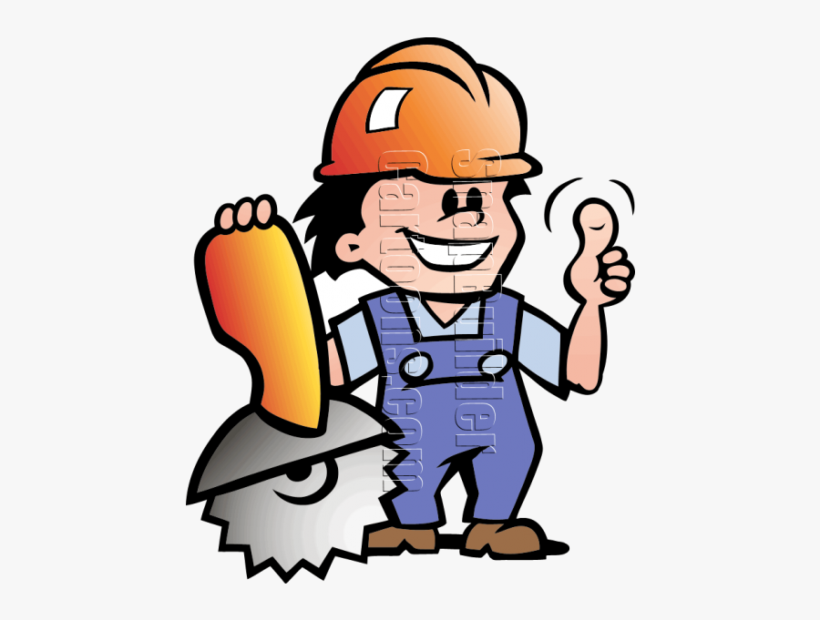 Mechanic Man With Saw & Hard Hat - Logo Man With Hammer, Transparent Clipart