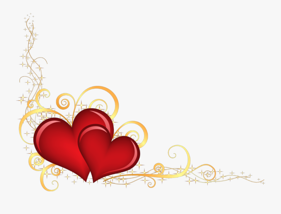 Mq Red Gold Heart Hearts Border Borders - Valentine's Day Clipart Borders, Transparent Clipart